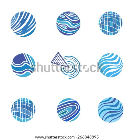 Blue Abstract Logos | Business signs templates with waves for corporate identity design - lawyer, construction, communication