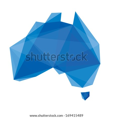 blue abstract map of Australia in origami style - stock vector