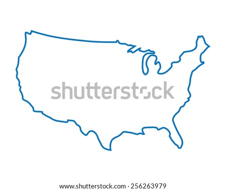 blue abstract map of United States - stock vector