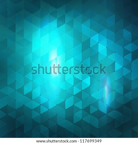 Blue abstract mosaic background. - stock vector