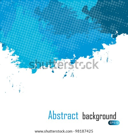 Blue abstract paint splashes illustration. Vector background with place for your text. - stock vector