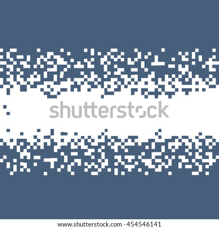 Blue Abstract Pixel Background With Space For Your Text. Vector Pixelated Border for design