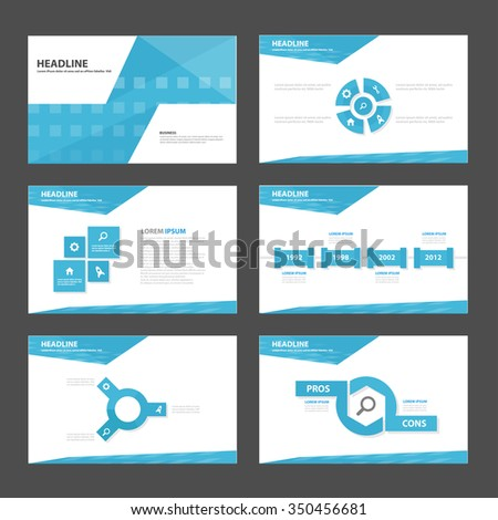 Blue Abstract presentation template Infographic elements flat design set for brochure flyer leaflet marketing advertising - stock vector