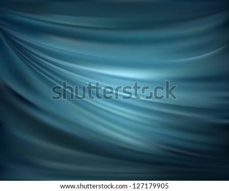 Blue abstract satin curtain background - stock vector