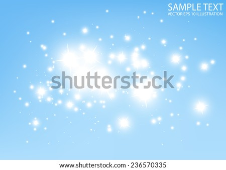 Blue abstract space vector sparkle field  background illustration  - Vector shiny abstract blue galaxy glittering template - stock vector