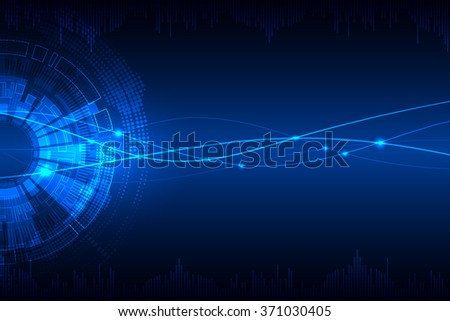 Blue abstract technological background with various technological elements. Vector