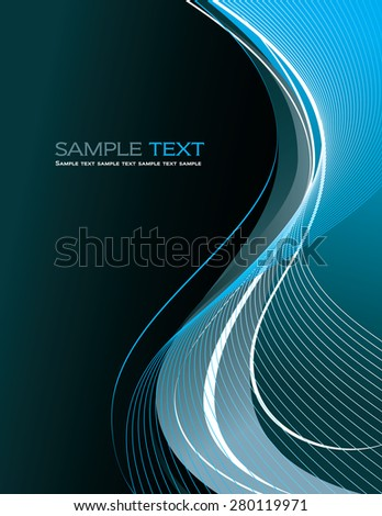 Blue Abstract Vector Background with Wavy Lines. - stock vector