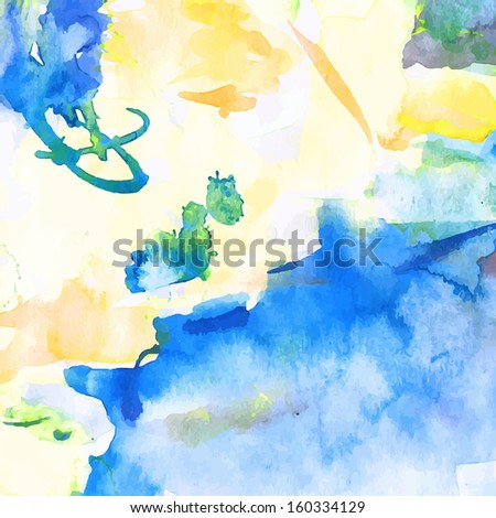 Blue abstract watercolor background,vector illustration, stain watercolors colors wet on wet paper.