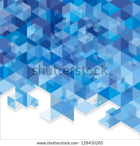 Blue abstraction, composed of blue bricks, different shades.