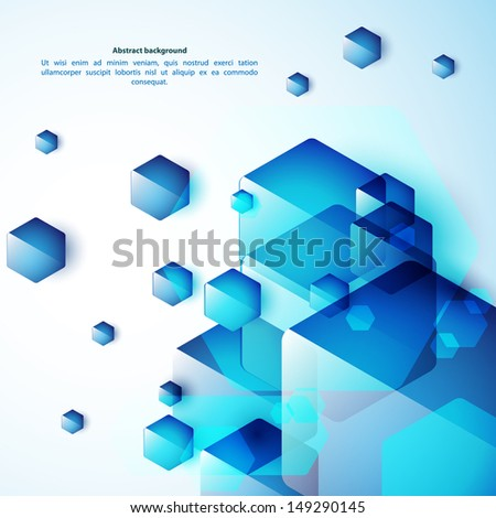Blue abstraction, composed of blue bricks, different shades. Vector illustration for  your business presentation - stock vector