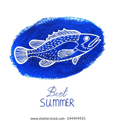 Blue acrylic stain and fish. - stock vector