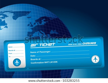 blue air ticket over blue planet background. vector illustration - stock vector