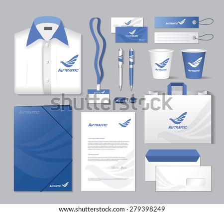 Blue air-transport corporate identity template - vector illustration - stock vector