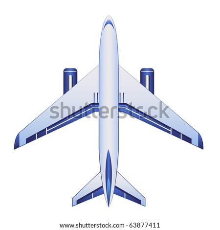 blue airplane - stock vector
