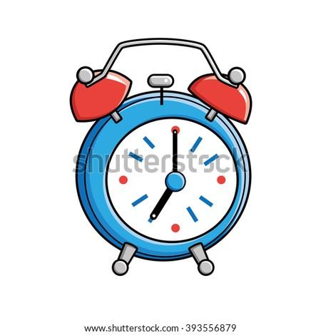 Blue alarm clock. - stock vector