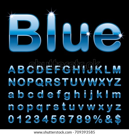 blue alphabet, fat blue rounded letters, vector illustration