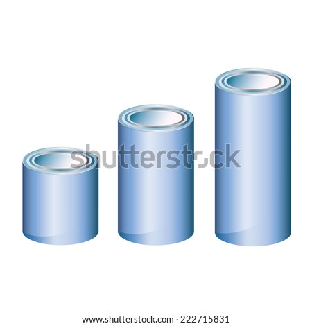 Blue aluminum anodized metal cans  medium long size isolated on white with adjustable high vector piece - stock vector