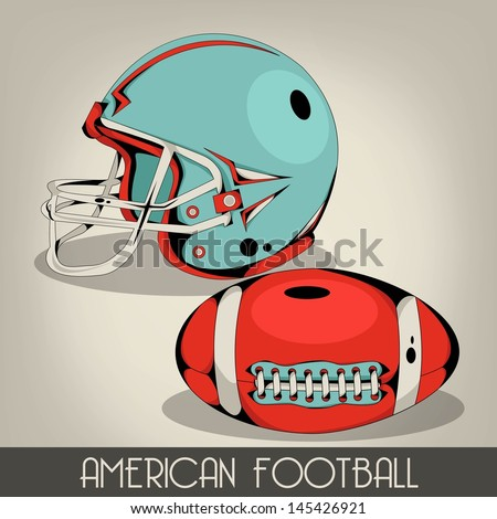 Blue american football helmet - stock vector
