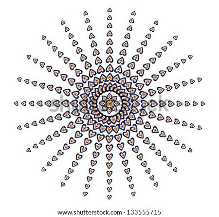 blue amulets heart vector art - stock vector