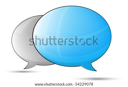 Blue an gray talk balloons isolated on white background - stock vector