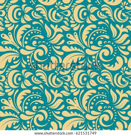 Blue and beige abstract doodle ornament, vector seamless pattern of abstract decorative elements.