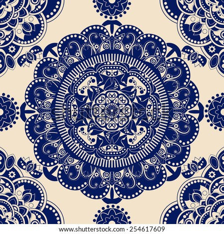 Blue and beige ornamental seamless pattern. Ornamental background - stock vector
