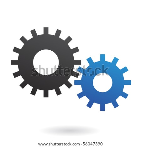 Blue and black cogs on white background - stock vector