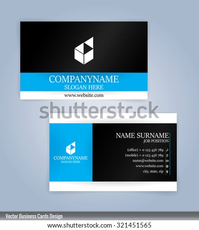 Blue and black modern business card template, Illustration Vector 10 - stock vector