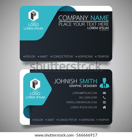 Blue black modern creative business card stock vector 2018 blue and black modern creative business card and name cardhorizontal simple clean template vector reheart Image collections