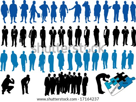 Blue and black people - stock vector