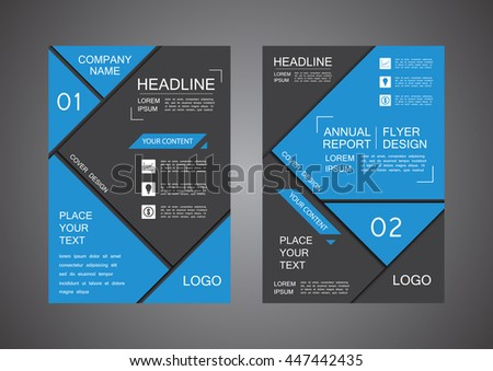 blue and black triangle cover design, annual report - stock vector