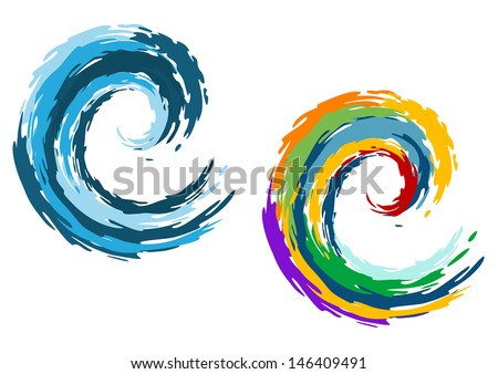 Blue and colorful ocean waves isolated on white background for travel and leisure concept design. Jpeg version also available in gallery - stock vector