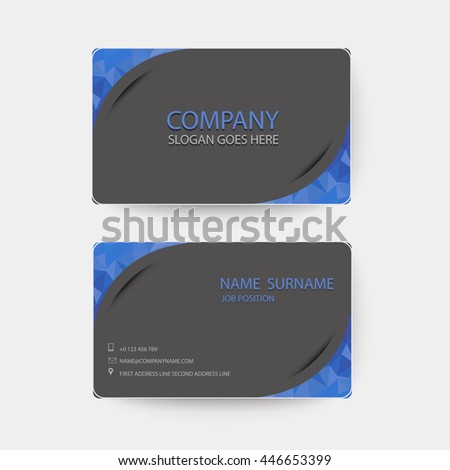 Blue and dark gray Modern Business-Card. - stock vector