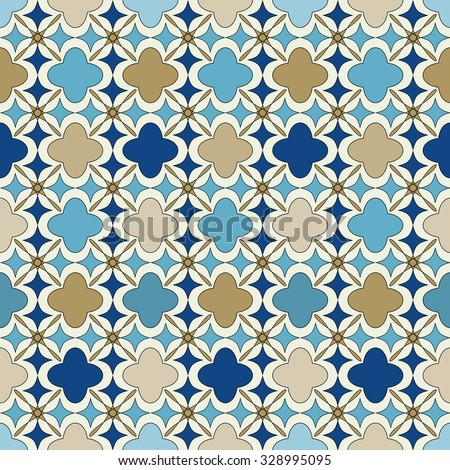 Blue and gold islamic pattern. Oriental tartan texture. Geometric floral seamless pattern. Abstract background. Winter ornament. Vintage wallpaper. - stock vector