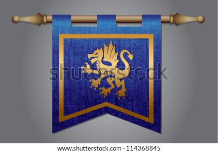 Blue and gold medieval banner flag with cloth texture and symbol of a dragon - stock vector
