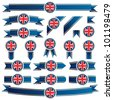 blue and gold ribbons with union jack emblems, isolated on white - stock photo