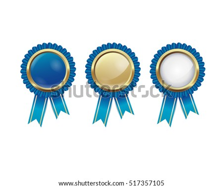 blue and golden badges on the white background