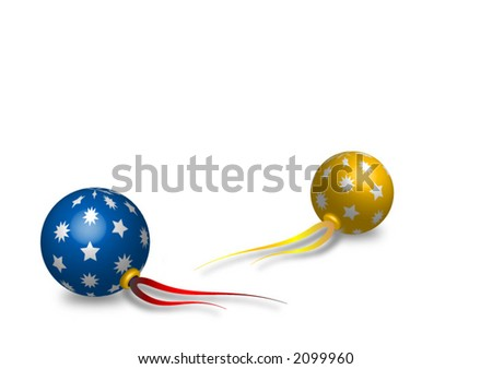 Blue and golden Christmas balls with ribbons and drop shadow, over white background