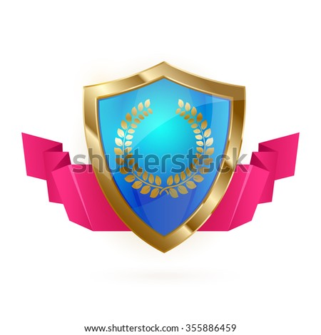 Blue and golden realistic shield with shiny laurel and red ribbon on white background. Defence symbol. Use as a logo element or web icon. Vector illustration EPS 10. - stock vector