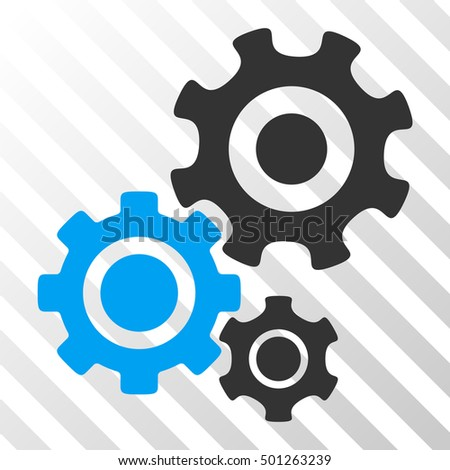 Blue And Gray Gear Mechanism toolbar icon. Vector pictogram style is a flat bicolor symbol on diagonal hatch transparent background.