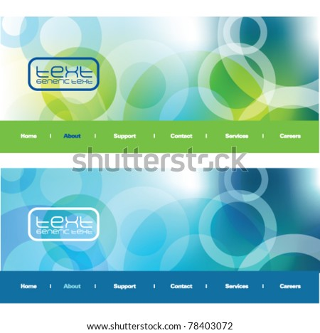 Blue and green abstract backgrounds - trendy business website template with copy space Contemporary Web headers - stock vector