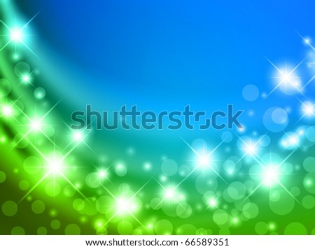 blue and green abstract curtain with shining stars and copyspace for your text - stock vector
