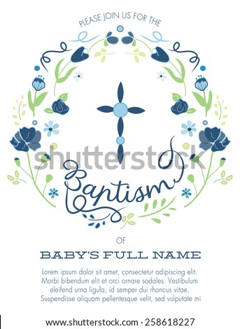 Blue green boys baptism christening invitation cross stock vector blue and green boys baptismchristening invitation with cross design and flowers vector stopboris