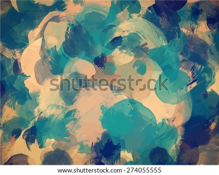 Blue and green brush strokes background. Vector version - stock vector
