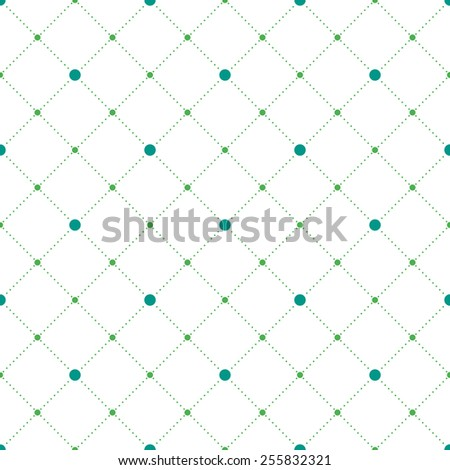 Blue and green circles and diamonds seamless pattern in rhomb shape. Vector repeating background for cover, presentation, web site, banner, etc. - stock vector