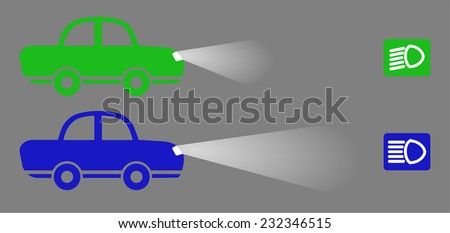 Blue and green color car with low lights and high beam short, the icon for the headlights. cartoon retro design, vector art image illustration, isolated on gray background - stock vector
