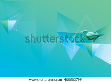 Blue and green colored wallpaper with geometric triangular abstract shapes and bird decoration. Modern stylized nature theme illustration