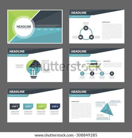 Blue and green multipurpose presentation infographic element and light bulb symbol icon template flat design set for advertising marketing brochure flyer  - stock vector