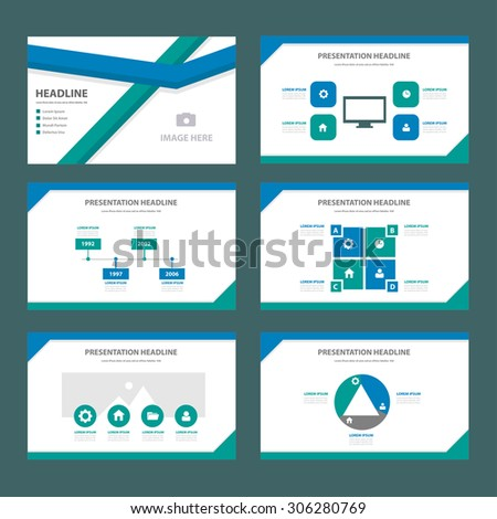 blue and green multipurpose presentation template flat design set for brochure flyer marketing and advertising  - stock vector
