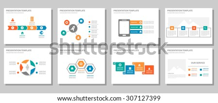 blue and green multipurpose presentation template flat design set for brochure flyer marketing and advertising 3 - stock vector